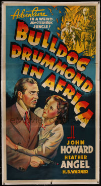 4y0006 BULLDOG DRUMMOND IN AFRICA Other Company linen 3sh 1938 John Howard, Heather Angel, ultra rare!
