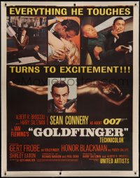 4y0011 GOLDFINGER linen INCOMPLETE 3sh 1964 great images of Sean Connery as James Bond 007!