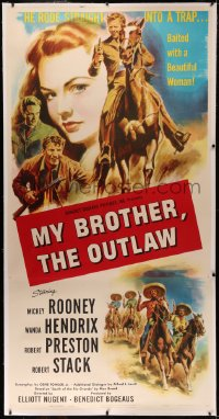 4y0013 MY OUTLAW BROTHER linen 3sh 1951 art of Mickey Rooney on horse, Wanda Hendrix, ultra rare!