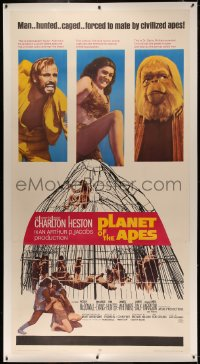4y0014 PLANET OF THE APES linen 3sh 1968 Charlton Heston classic, top stars & caged humans, rare!