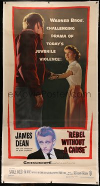 4y0015 REBEL WITHOUT A CAUSE linen 3sh 1955 Nicholas Ray, James Dean, a bad boy from a good family!