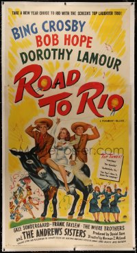4y0016 ROAD TO RIO linen 3sh 1948 great art of Bing Crosby, Bob Hope, & Dorothy Lamour in Brazil!