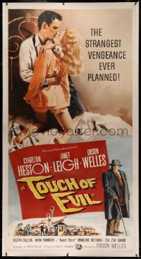 4y0018 TOUCH OF EVIL linen 3sh 1958 Bob Tollen art of Orson Welles, Charlton Heston & Janet Leigh!