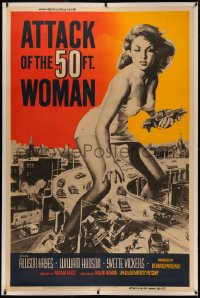 4y0002 ATTACK OF THE 50 FT WOMAN linen 40x60 1958 great Brown art of giant Allison Hayes, ultra rare!