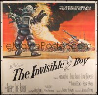 4y0001 INVISIBLE BOY linen 6sh 1957 Robby the Robot, who would destroy the world, Kunstler art, rare!