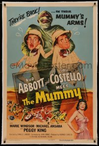 4y0021 ABBOTT & COSTELLO MEET THE MUMMY linen 1sh 1955 Bud & Lou are back in their mummy's arms!