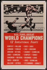 4y0024 ALL TIME GREAT WORLD CHAMPIONS linen 1sh 1940s Jack Dempsey, Joe Louis, Rocky Graziano, boxing!