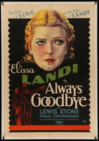 4y0025 ALWAYS GOODBYE linen 1sh 1931 great art, the eyes of love are the eyes of Elissa Landi, rare!