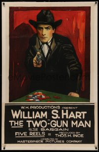 4y0029 BARGAIN linen 1sh R1918 art of William S. Hart w/gun by poker chips in 1st movie, ultra rare!