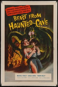 4y0031 BEAST FROM HAUNTED CAVE linen 1sh 1959 uncensored art of monster with sexy near-naked victim!