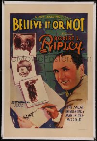 4y0032 BELIEVE IT OR NOT linen 1sh 1931 most interesting man in the world Robert L. Ripley, very rare!