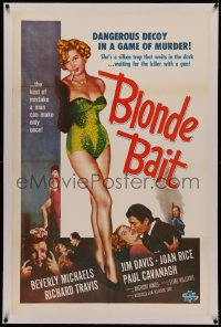 4y0034 BLONDE BAIT linen 1sh 1956 full-length sexy smoking bad girl Beverly Michaels is a silken trap!