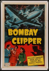 4y0035 BOMBAY CLIPPER linen 1sh R1949 Turhan Bey, Maria Montez, cool art of cargo plane, very rare!