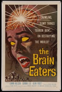 4y0036 BRAIN EATERS linen 1sh 1958 AIP, classic close-up sci-fi horror art of girl's brain exploding!