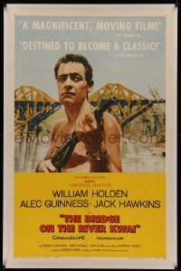 4y0041 BRIDGE ON THE RIVER KWAI linen style B 1sh 1958 William Holden with gun, David Lean classic!