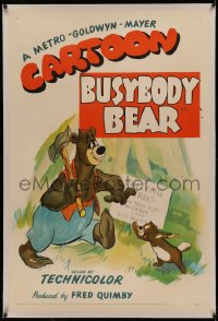 4y0046 BUSYBODY BEAR linen 1sh 1952 Barney Bear tries to help beaver by building him a huge dam!
