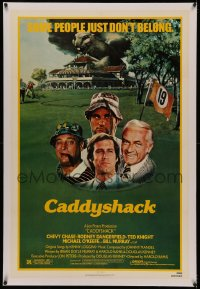 4y0047 CADDYSHACK linen 1sh 1980 Chevy Chase, Bill Murray, Rodney Dangerfield, golf comedy classic!