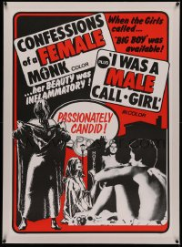 4y0054 CONFESSIONS OF A FEMALE MONK/I WAS A MALE CALL GIRL linen Canadian 1sh 1975 passionately candid!