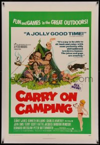 4y0048 CARRY ON CAMPING linen 1sh 1971 Sidney James, English nudist sex, wacky Fratini outdoors art!