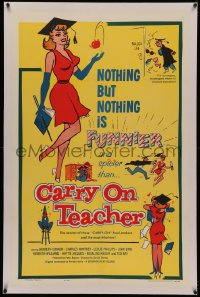 4y0049 CARRY ON TEACHER linen 1sh 1962 Kenneth Connor, Charles Hawtrey, English, sexy comic art!