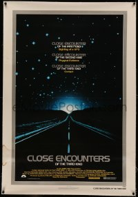 4y0052 CLOSE ENCOUNTERS OF THE THIRD KIND linen 1sh 1977 Spielberg's sci-fi classic, silver border!