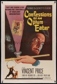 4y0055 CONFESSIONS OF AN OPIUM EATER linen 1sh 1962 Vincent Price, cool art of drugs & caged girls!