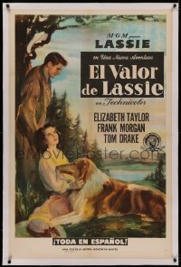 4y0058 COURAGE OF LASSIE linen Spanish/US 1sh 1946 artwork of Elizabeth Taylor with famous canine!