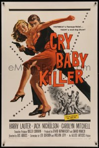4y0060 CRY BABY KILLER linen 1sh 1958 first Jack Nicholson, cool art of criminal with girl and gun!