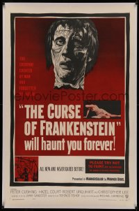 4y0062 CURSE OF FRANKENSTEIN linen 1sh 1957 cool close up artwork of Christopher Lee as the monster!