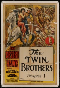 4y0063 DESERT HAWK linen chapter 1 1sh 1944 art of Gilbert Roland, serial, The Twin Brothers!