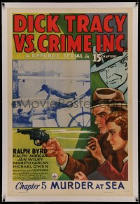 4y0065 DICK TRACY VS. CRIME INC. linen chapter 5 1sh 1941 art of detective Ralph Byrd, Murder at Sea!