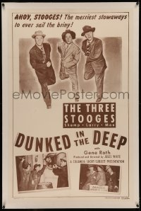 4y0071 DUNKED IN THE DEEP linen 1sh 1949 Three Stooges Moe, Larry & Shemp are merry stowaways, rare!