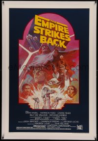 4y0073 EMPIRE STRIKES BACK linen studio style 1sh R1982 George Lucas sci-fi classic, art by Tom Jung!