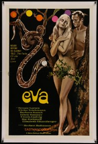 4y0074 EVA linen 1sh 1969 sexy art of Adam & Eve w/snake, the facts of life & love, West German!