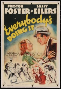 4y0075 EVERYBODY'S DOING IT linen 1sh 1937 romantic art of Preston Foster & pretty Sally Eilers!