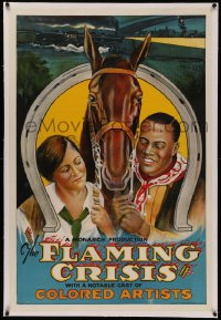 4y0079 FLAMING CRISIS linen 1sh 1924 stone litho of black newspaperman turned cowboy w/girl & horse