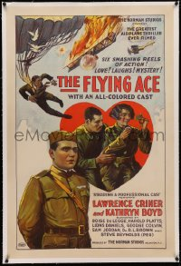 4y0080 FLYING ACE linen 1sh 1926 all-black aviation, the greatest airplane thriller ever produced!