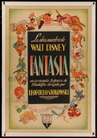 4z0068 FANTASIA linen Argentinean 1942 Walt Disney classic, art of Mickey Mouse & cast, very rare!