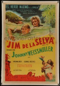 4z0069 JUNGLE JIM linen Argentinean 1950 art of Weissmuller & Grey in river with crocodile, rare!