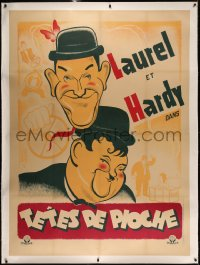 4z0017 BLOCK-HEADS linen French 1p R1948 Michel Gerard art of Stan Laurel & Oliver Hardy, very rare!