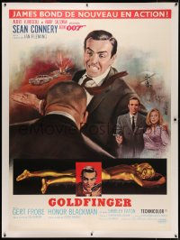 4z0023 GOLDFINGER linen French 1p 1964 art of Sean Connery as James Bond 007 by Jean Mascii!