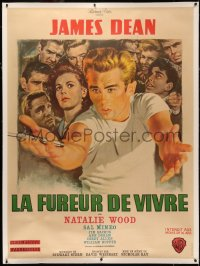 4z0026 REBEL WITHOUT A CAUSE linen French 1p R1963 Nicholas Ray, Mascii art of James Dean, ultra rare!
