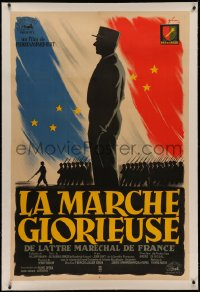 4z0029 MARCH TO GLORY linen French 31x47 1954 Grinsson art of French soldiers & flag, ultra rare!