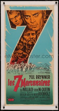 4z0111 MAGNIFICENT SEVEN linen French 16x32 1961 Yul Brynner, Steve McQueen, different Grinsson art!