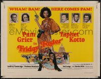 4z0082 FRIDAY FOSTER linen 1/2sh 1976 great art of sexiest Pam Grier with gun and camera, very rare!