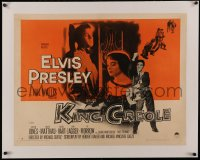4z0084 KING CREOLE linen style B 1/2sh 1958 Elvis Presley with guitar & sexy Carolyn Jones, rare!