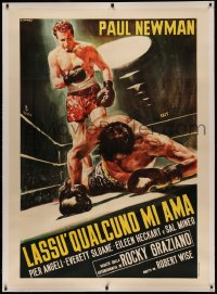 4z0013 SOMEBODY UP THERE LIKES ME linen Italian 1p R1960s Casaro art of Newman as boxing champ Graziano