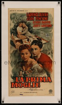4z0094 REBECCA linen Italian locandina R1951 Hitchcock, Laurence Olivier, Fontaine, Judith Anderson