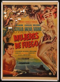 4z0102 MUJERES DE FUEGO linen Mexican poster 1959 sexy art of naked showgirls + full-length dancer!
