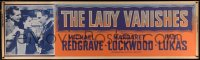 4z0006 LADY VANISHES paper banner R1952 Hitchcock, Michael Redgrave, Lockwood, Lukas, ultra rare!